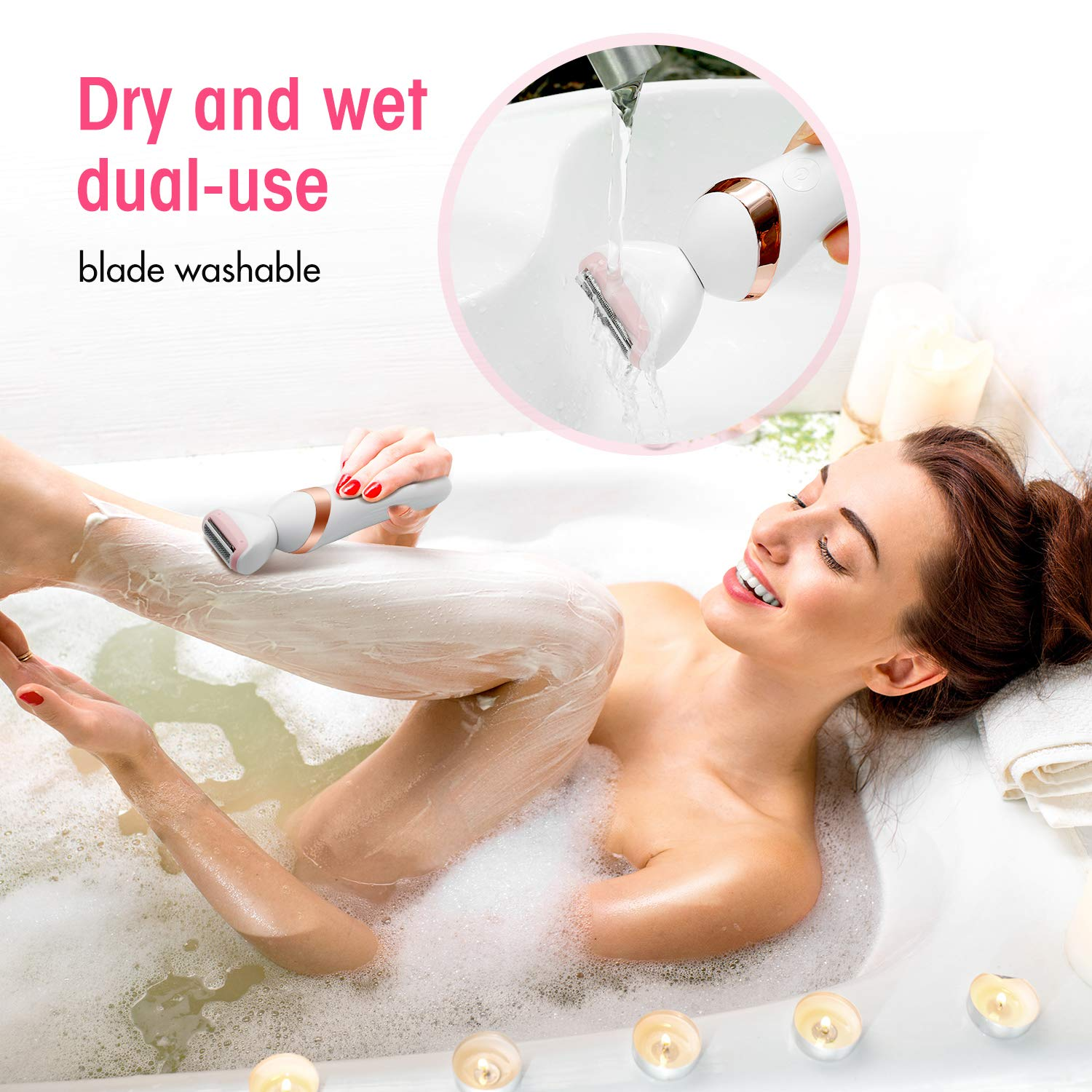 3-In-1 Women's Electric Razor, Multi-Function Waterproof Cordless Rechargeable Shaver Set