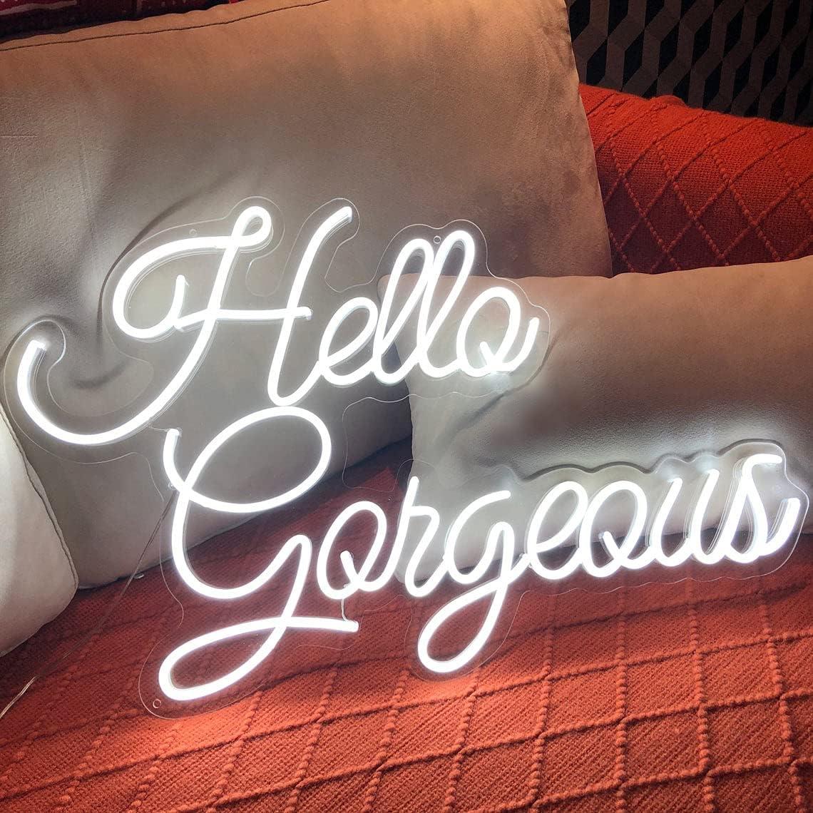 FARNEW Hello Gorgeous Neon Sign Light Wall Art Gifts,Neon Sign Wall Art,Neon Sign Wall Decorations Bar Pub Club Rave Apartment Home Decor Party Christmas Decor (White)