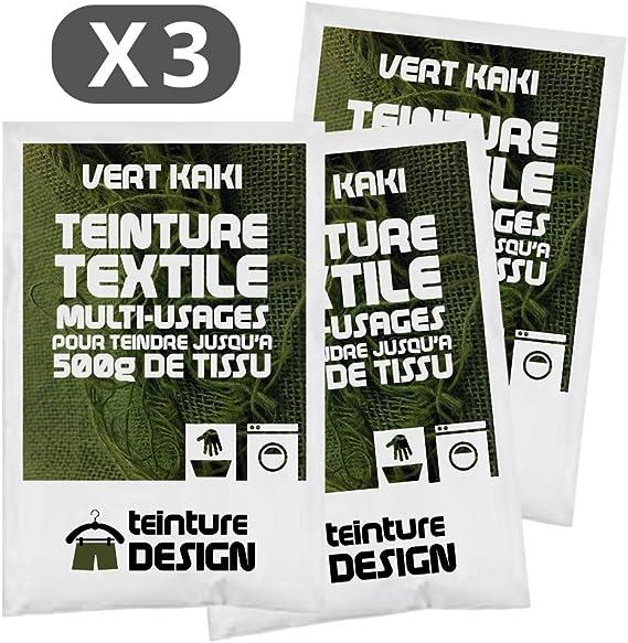 Lot de 3 sachets de Teinture Textile - KAKI - teintures universelles pour vêtements et tissus naturels