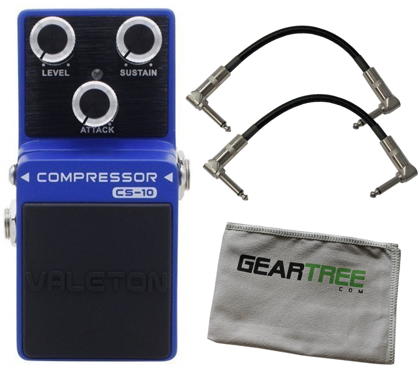 Valeton CS-10 Loft Analog Compressor Pedal Bundle w/ 2 Cables and Cloth