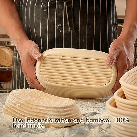 Canasta de Prueba de Pan, Canastas de Masa de Bambú de Ratán Hechas a Mano Para Hornear Pan de Banneton (Ovalo)