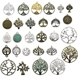 100g Craft Supplies Mixed Tree of Life Pendants Beads Charms Pendants for Crafting, Jewelry Findings Making Accessory for DIY Necklace Bracelet (Tree of Life Charms)