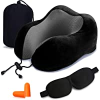 Travel Pillow, JR INTL 100% Pure Memory Foam Neck Pillow, Comfortable & Breathable Cover - Machine Washable, Airplane…
