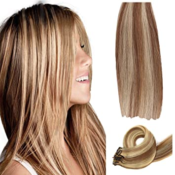 Amazon Com Chicfusion Clip In Real Human Hair Extensions Two Tone