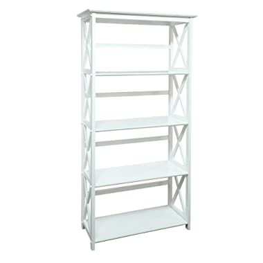 Casual Home 324-51 Montego Bookcase, 5-Shelf, White