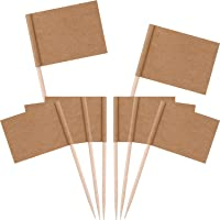 Banderas de palillos de dientes en blanco, papel