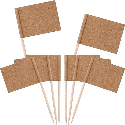 MaoXinTek Mini Banderas con Palillos,BlancoToothpick Flags Palitos de c/óctel 200 Piezas Etiquetas de Marcar para Pastel de Fiesta Comida de Queso Decoraciones