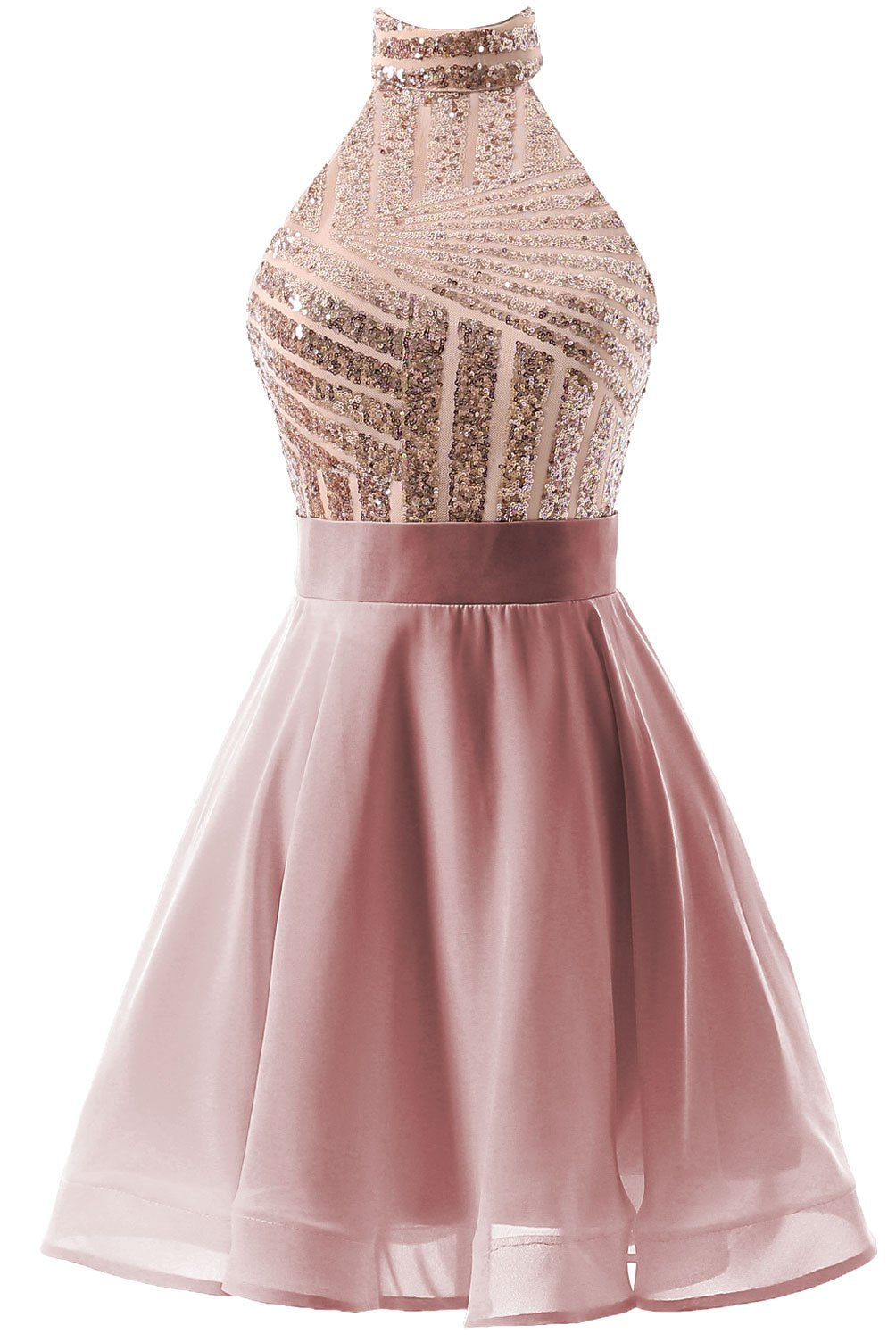 3c86838f5e6 DYS Women s Short Halter Prom Party Dress Backless Homecoming Dress for  Juniors Blush US 2