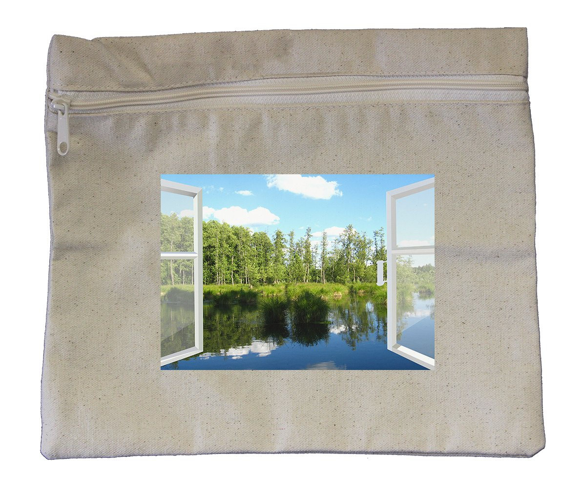 Canvas Zipper Pouch Tote 10''X12'' Opened Window To Summer Field Style In Print