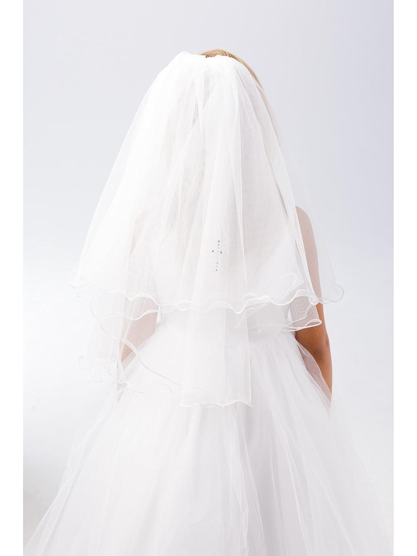 Girls White Glitter Rhinestone Cross Detail Communion Flower Girl Veil Tip Top Kids