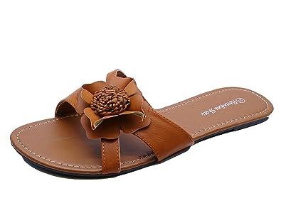64ab998a1932c HeelzSoHigh Ladies Tan Slip-On Flat Sandals Flip-Flop Mules Slider Summer  Shoes Big
