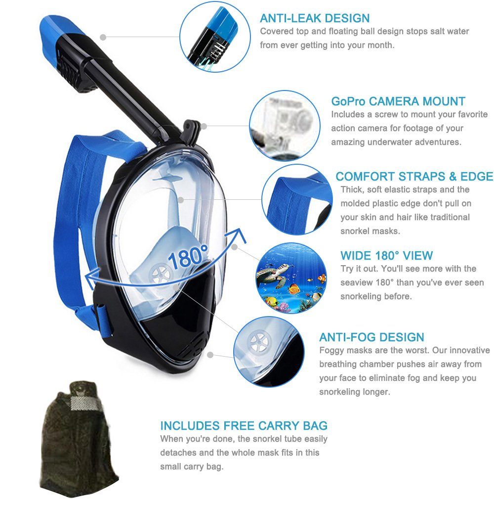 Liwithpro 180 Full Face Snorkel Mask GoPro Compatible Panoramic Seaview Snorkeling Mask With Anti-Fog Anti-Leak and Longer Snorkel 2 Size Available (Black & Blue, Large/Extra Large)