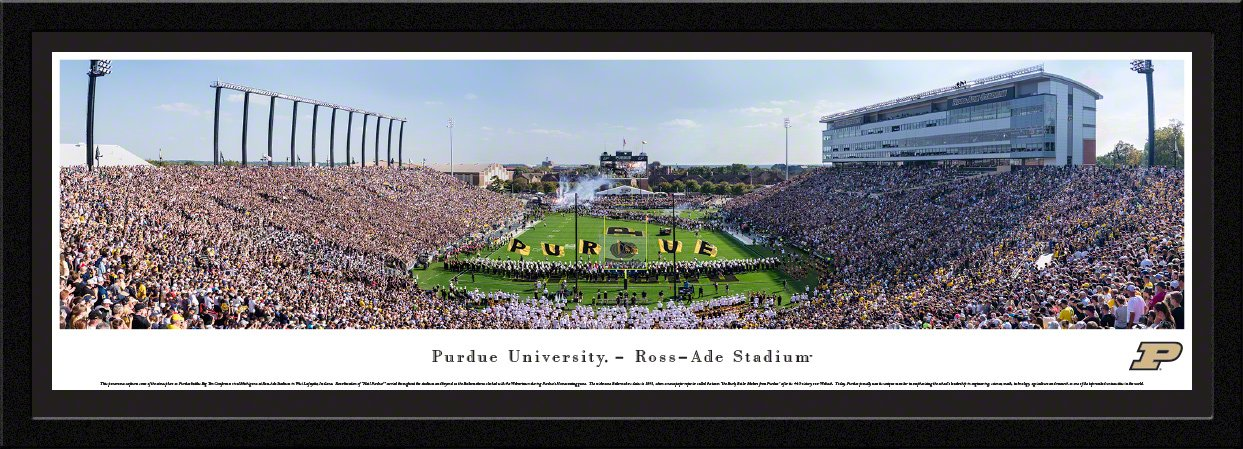 Purdue Football - 42x15.5-inch Single Mat, Select Framed Picture by Blakeway Panoramas by Blakeway Worldwide Panoramas, Inc.
