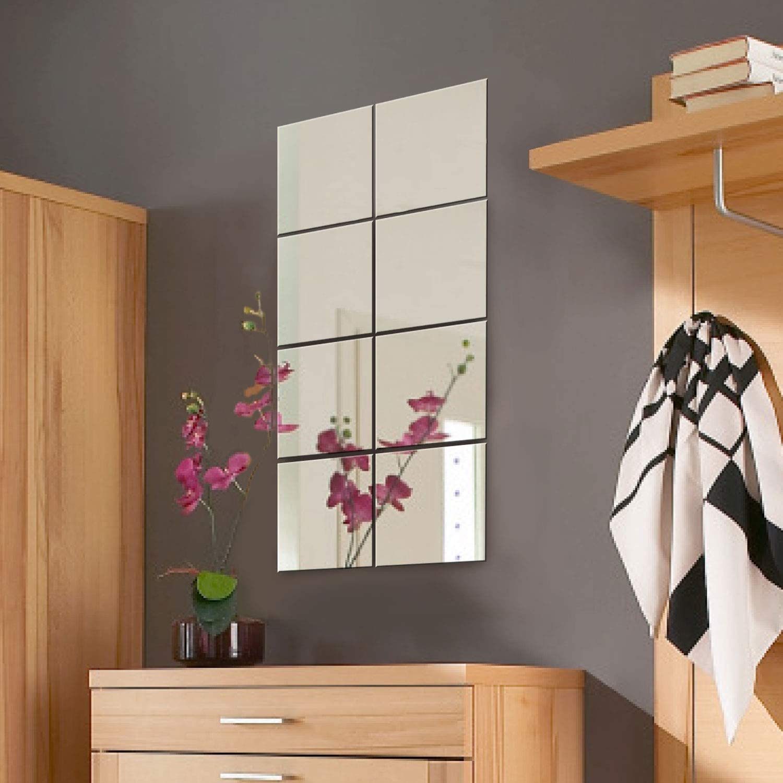 Conjunto de azulejos de espejo de pared decorativos Wohaga® de 8piezas, cada uno mide 20,5 x 20,5 cm