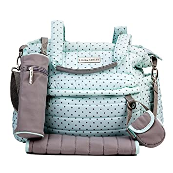 ddbbac7d50 Amazon.com   Laura Ashley Mint Polka Dot Quilted 5 1 Diaper Bag Set   Baby