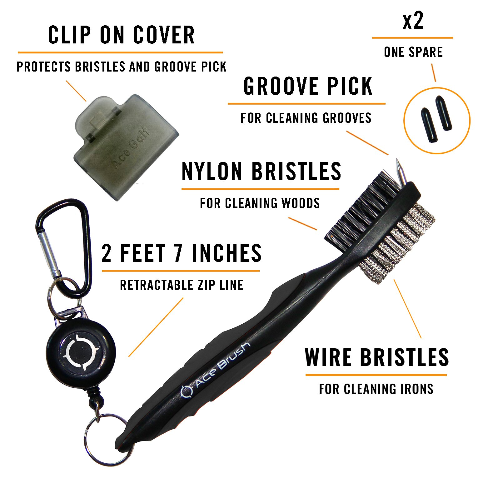 Ace Golf Brush and Club Groove Cleaner Set with Divot Tool, Ball Marker, Groove Sharpener, 2 Feet Retractable Zip-line Aluminum Carabiner, Attaches Golf Bags - Black - Deluxe by Ace Golf (Image #2)