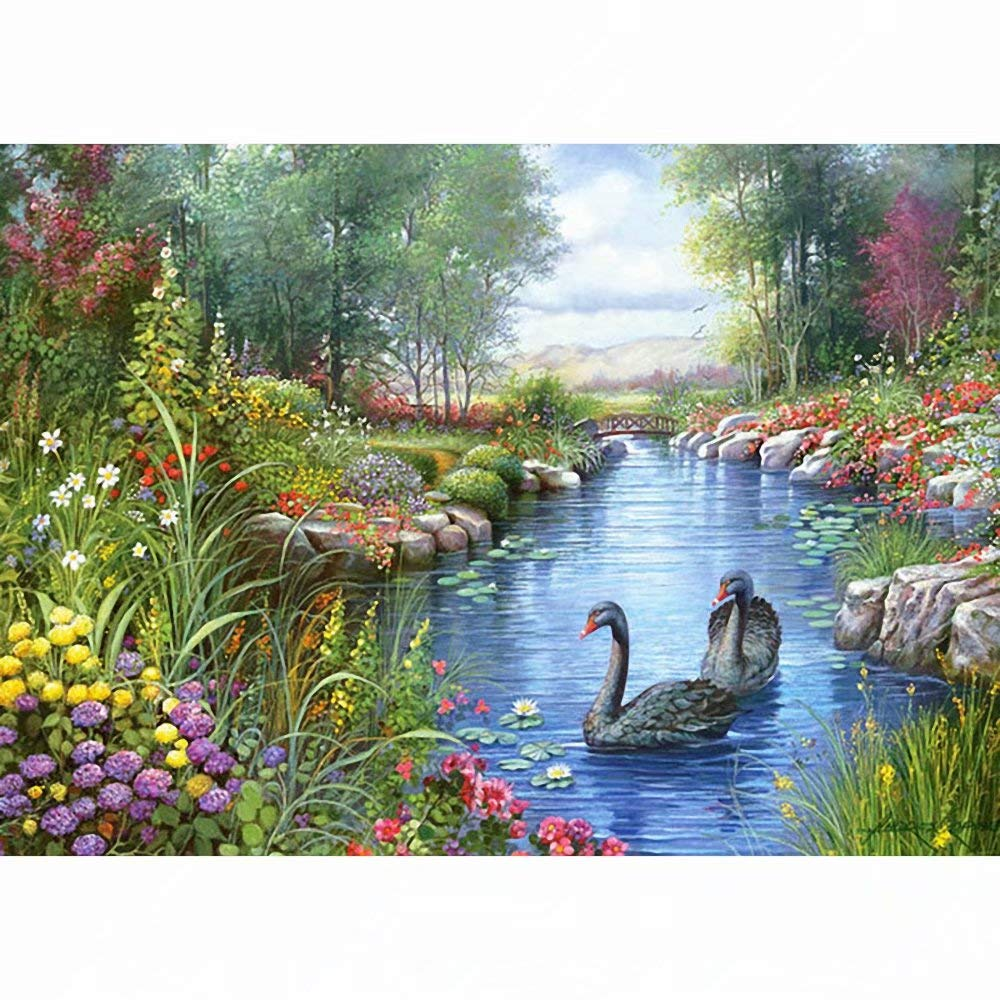 DIY 5D Diamond Painting Kits for Adults Forest River Black Swan Kids Design for Kids and Adults - Tool Kit Includes All Accessories by RUMOD