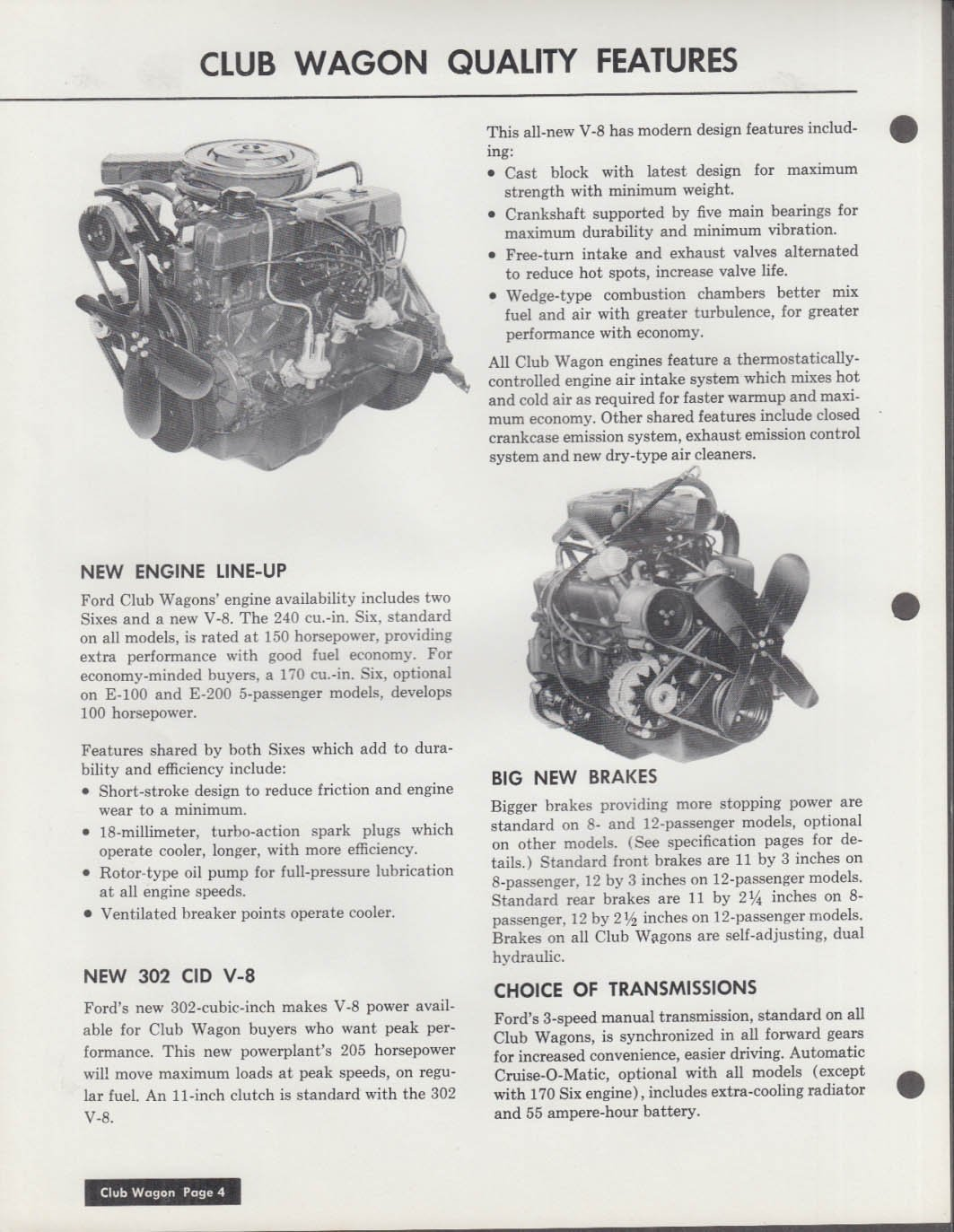 1969 Ford Club Wagon 3-ring binder specifications pages insert at Amazons Entertainment Collectibles Store