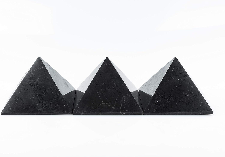 Protecci/ón contra radiaci/ón EMF 10 cm SN NATURSTEIN UG Gema y Piedra curativa originaria de Carelia Pir/ámide Shungit Pulida