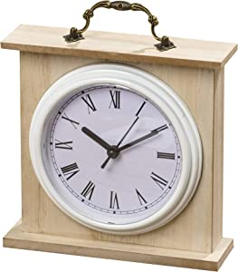 WHW Whole House Worlds Americana Iconic Heritage Home White Analog Clock, Quartz Movement, Glass Wood, Metal, and Plastic, 7 L x 2 W x 7.5 H inches, 1AA Battery (Not Included)