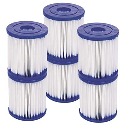 Bestway 6 Pack Type I Filter Cartridge for Above Ground Swimming Pool Pumps: Kitchen & Dining