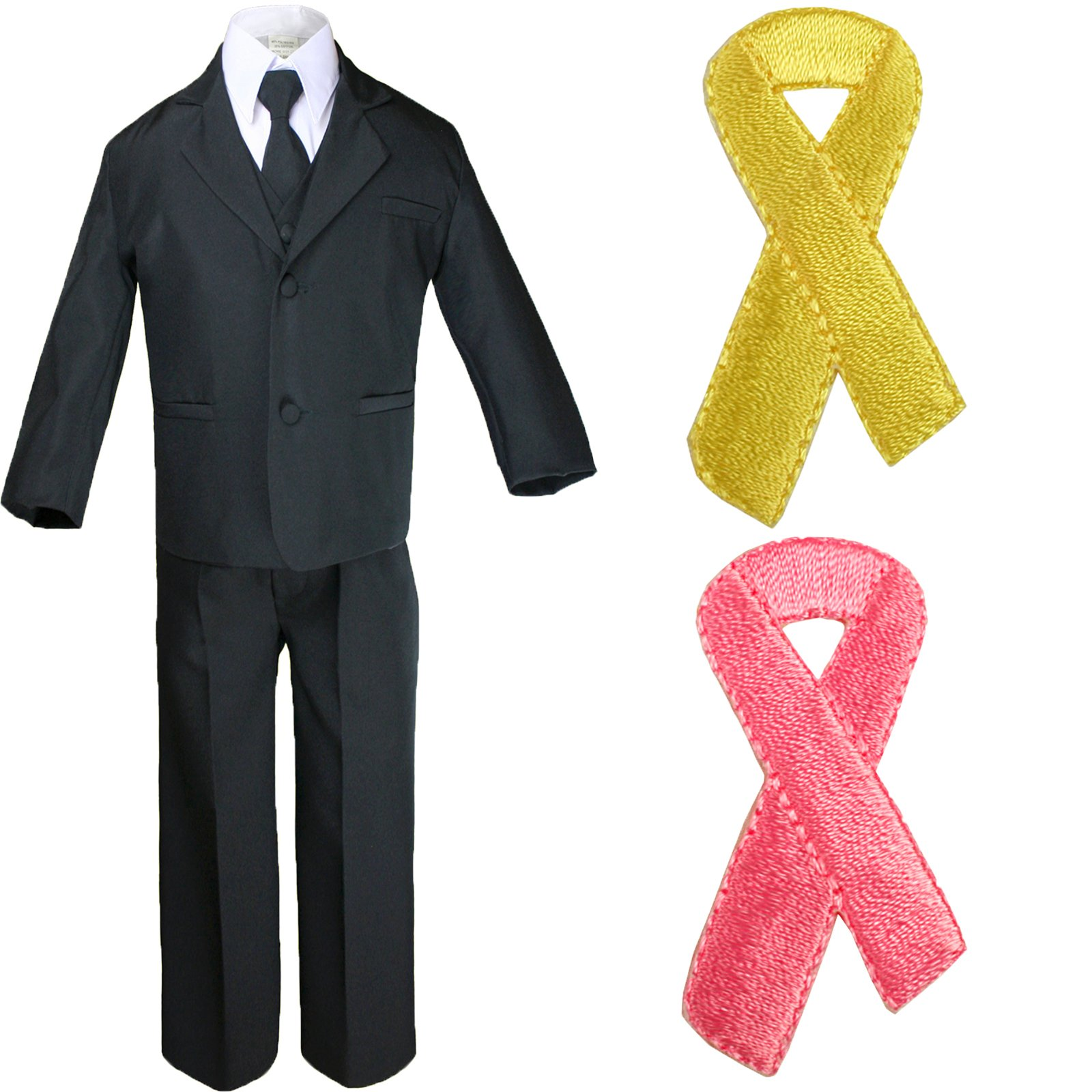 5pc Baby Boy Teen Black Suit w/Cancer Awareness Ribbon Adhesive Love Hope Patch (5, Add Pink Ribbon)