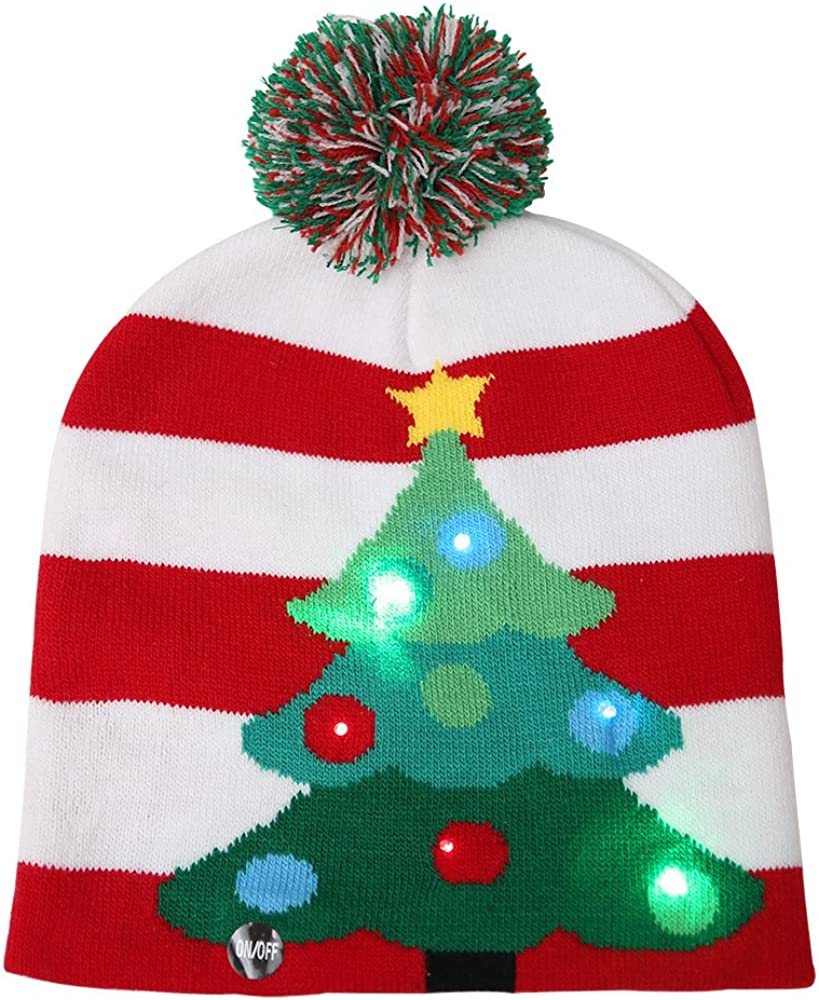 Christmas Hat Santa Hats for Adults Funny Novely LED Light Up Hat Knitted Ugly Sweater Holiday Xmas Christmas Beanie