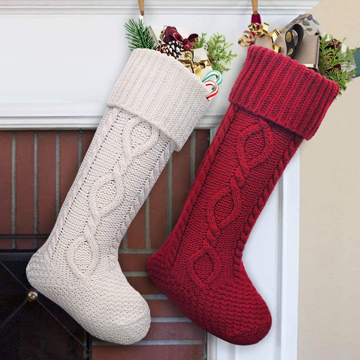 LimBridge Christmas Stockings, 2 Pack 20 inches Large Size Cable Knit Knitted Xmas Rustic Personalized Stocking Decorations for Family Holiday Season Decor, White or Red