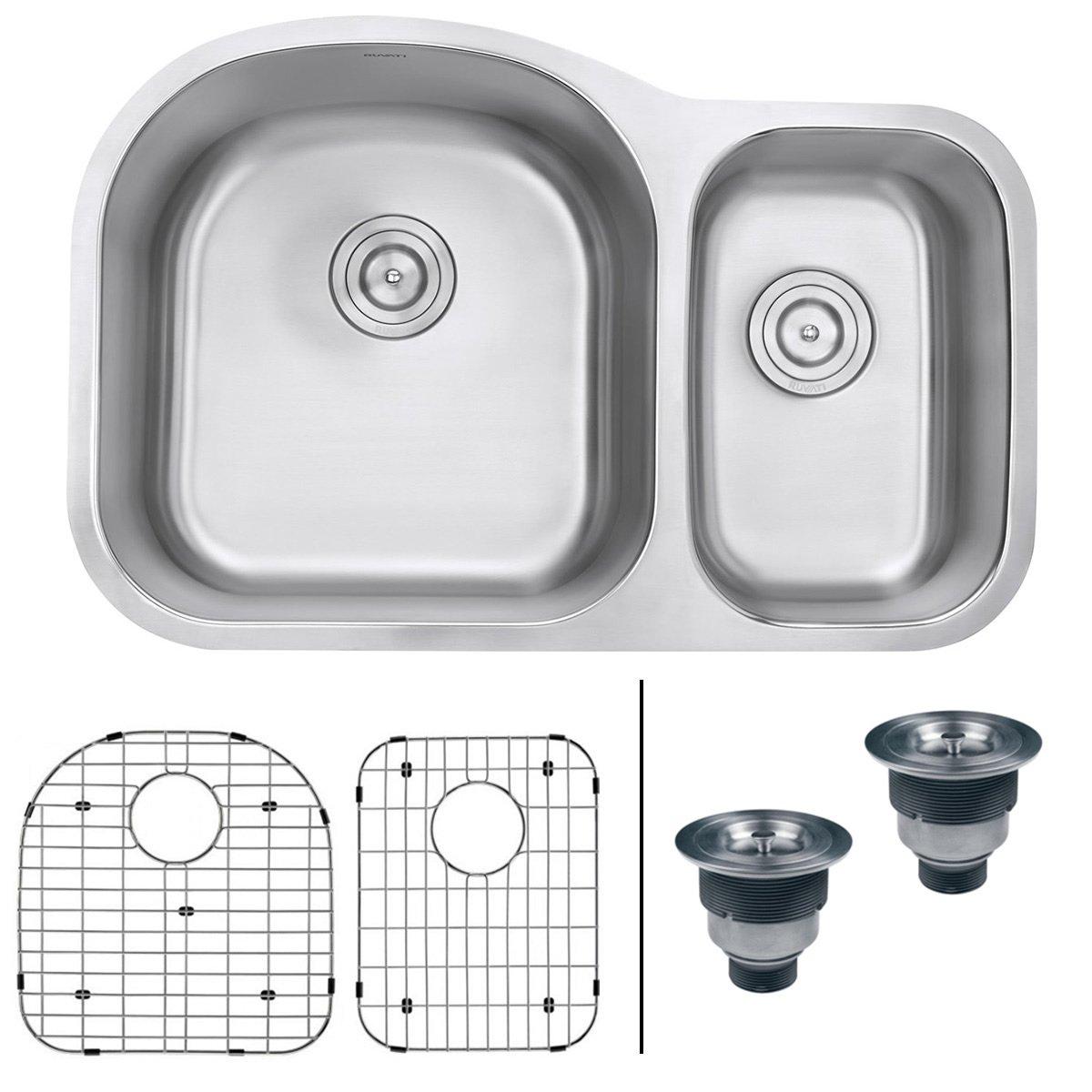 Ruvati RVM4400 Undermount 16 Gauge 32'' Kitchen Sink Double Bowl