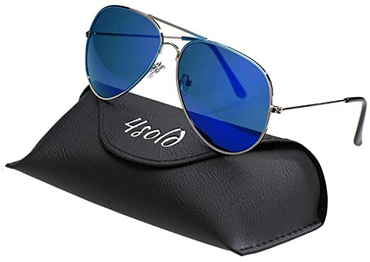 4sold Polarisierte UV 400 Schutz Metall Rahmen Sonnenbrille Pilotenbrille Für Unisex mit Fall (Erwachsener, Orange)