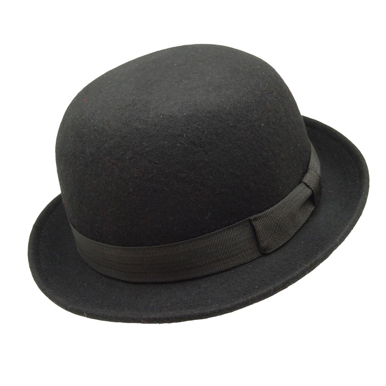HATsanity Kid's Fashion Wool Felt Soft Bowler Hat Black