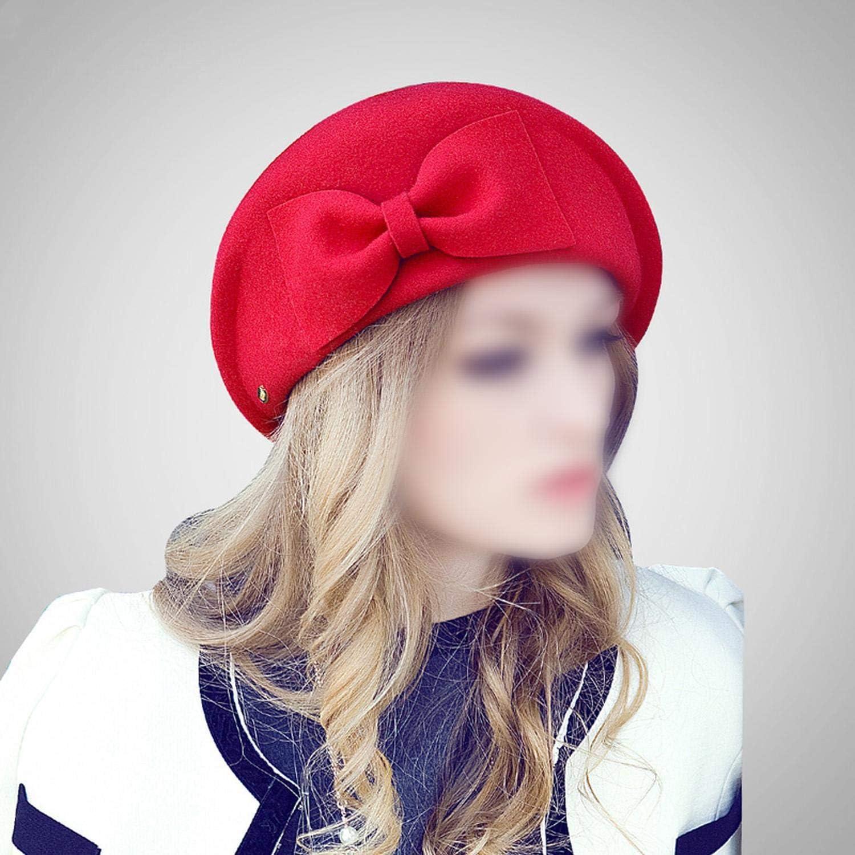 ribbon bow red beret hat cap women girls autumn winter unique ribbon bow woolen beret painter cap retro reported bonnet octagonal cap