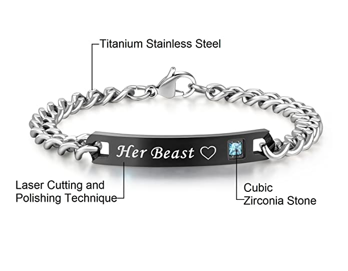 7b0fe59326 Amazon.com: His or Hers Matching Set His Beauty Her Beast Titanium  Stainless Steel Couple Bracelet in a Gift Box (A Pair): Jewelry
