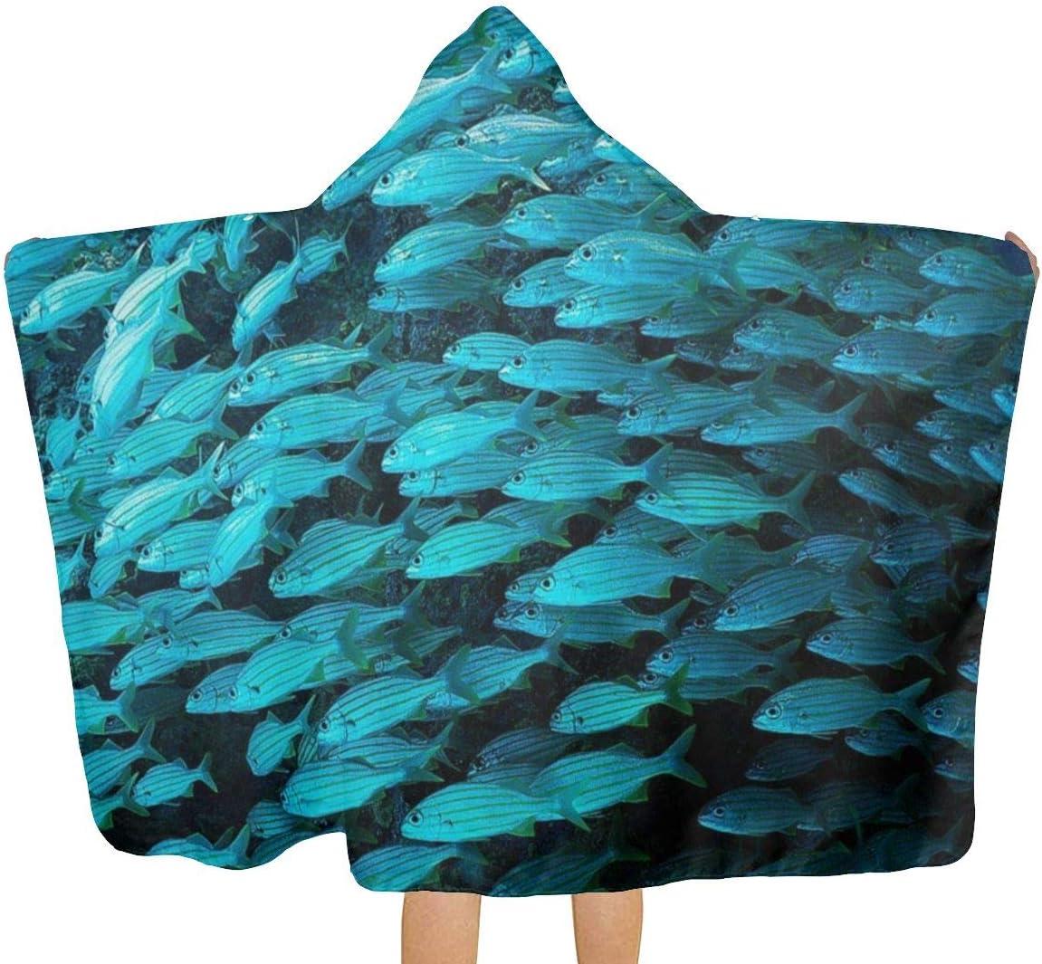 Bonaire Island Fish - Toalla de baño con capucha para niños, 32 x 51.5 pulgadas, material suave, absorbe y seca rápidamente, toalla de playa con capucha