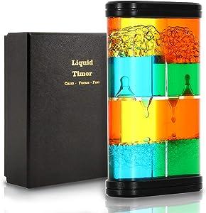 KLT Liquid Timer for Sensory Play, Special Liquid Motion Bubbler Fidget Toy, Home or Desk Decor, Children Activity, Droplet Movement for Autistic, ADHD, Bedroom, Kitchen, Bathroom Calming Toy