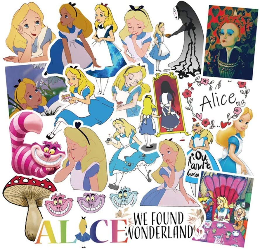 Cartoon Movie Themed Alice in Wonderland 50 Piece Sticker Decal Set for Kids Adults - Laptop Motorcycle Skateboard Decals