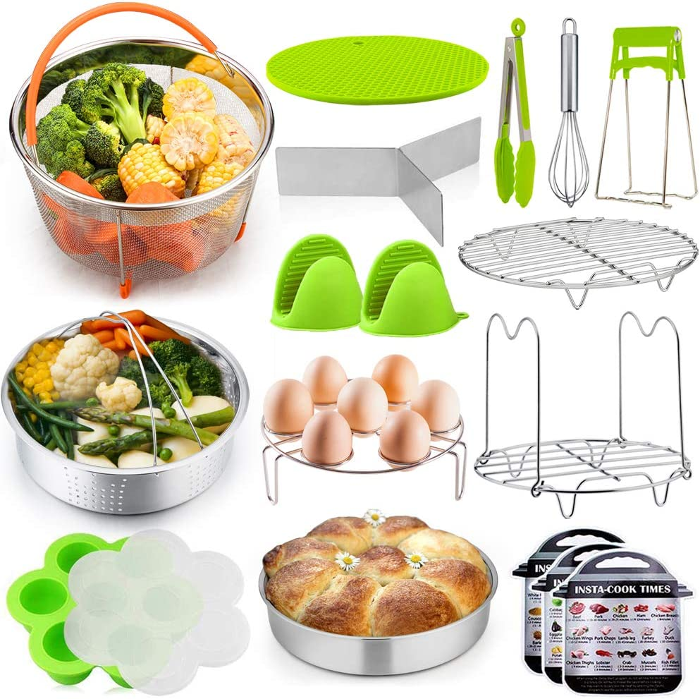 P&P CHEF 18 Pieces Pressure Cooker Instant Pot Accessories Set for Cooking and Serving, Fit 6/8 QT Electric Pressure Cooker, 2 Steamer Baskets, Cake Pan, Egg Rack, Egg Bites Mold and More Kitchen Tool