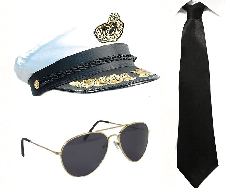 ADULTS SATIN CAPTAIN HAT SAILOR SEA FANCY DRESS ACCESSORY NAVAL OFFICER MARINE