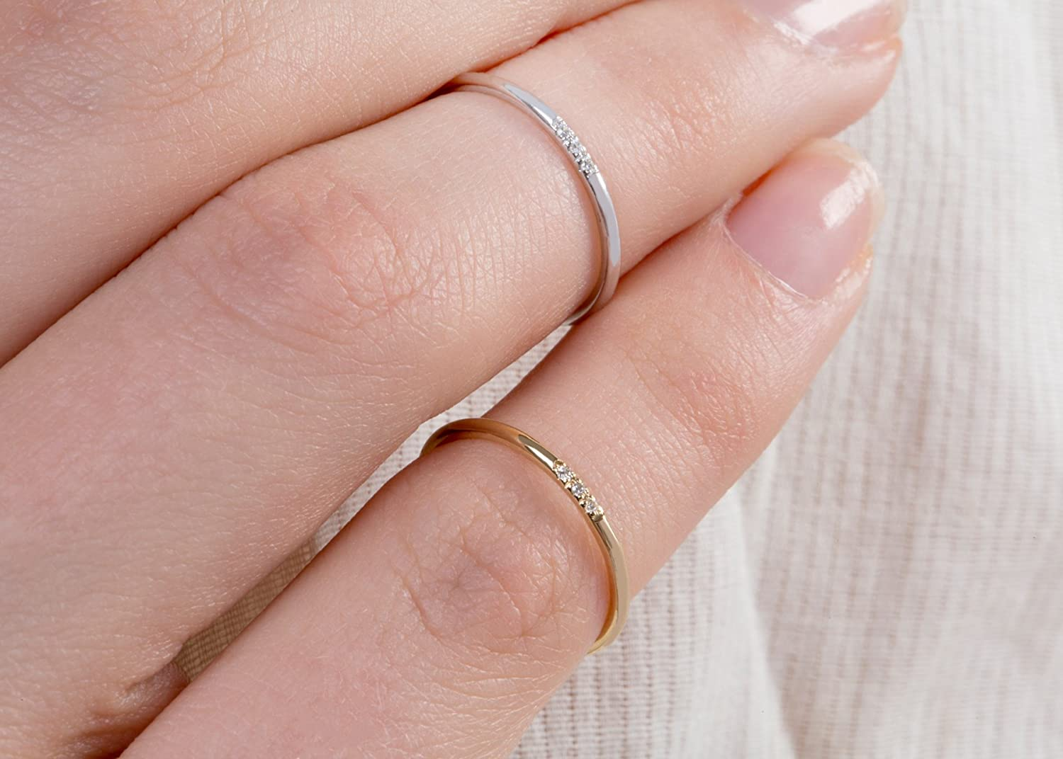 Amazon.com: Ultra thin diamond band, Solid gold diamond ring ...