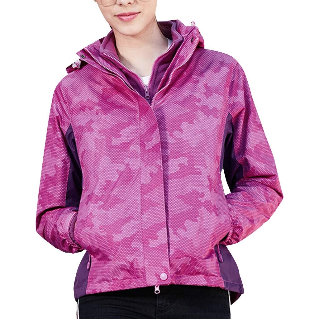 Womens Camo Quick Dry Jacket Windproof Lightweight Windbreakers Sun Protect Hooded Outdoor Sports Outwear Lovers Coat (Pink, M) by Jieou