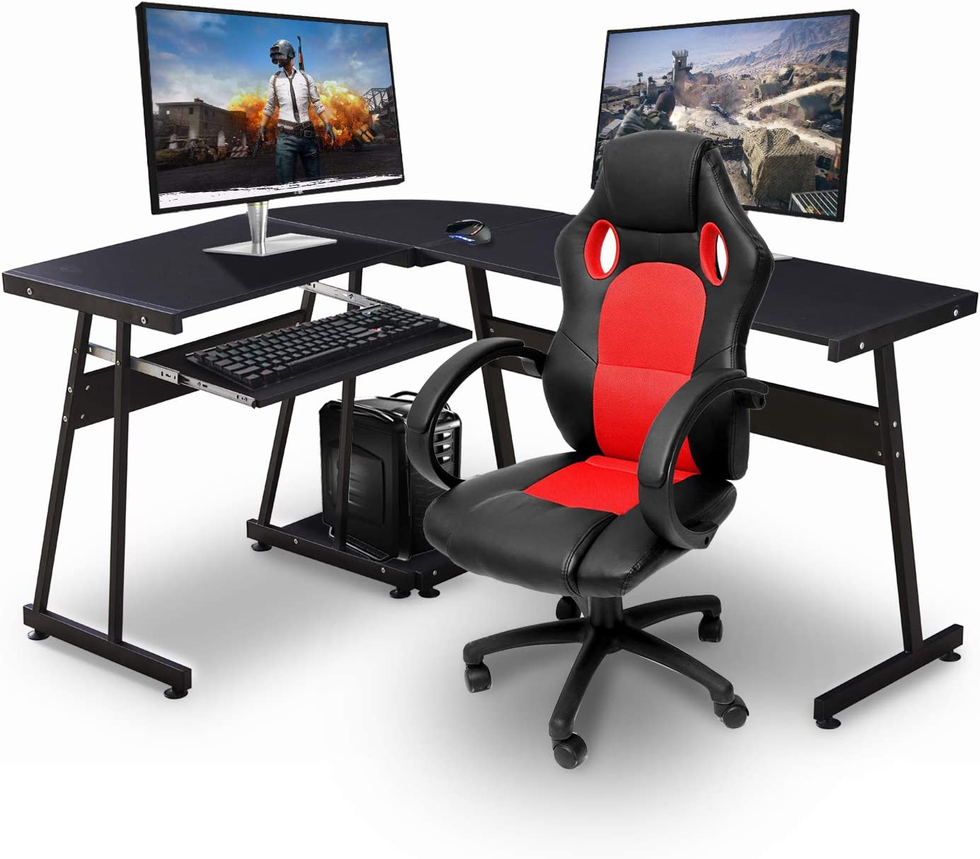 Amazon.com: Ivinta Reversible Black Gaming Desk Corner Desk Modern ...