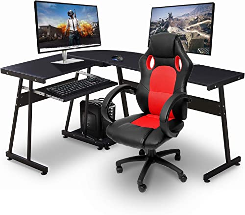 Ivinta Reversible Black Gaming Desk Corner Desk Modern L-Shaped Desk Computer Desk for Home Office Small Space,with Keyboard Tray and CPU Stand,44×58 inch
