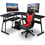 Ivinta Reversible Black Gaming Desk Corner Desk Modern L-Shaped Desk Computer Desk for Home Office Small Space,with Keyboard Tray and CPU Stand,44x58 inch