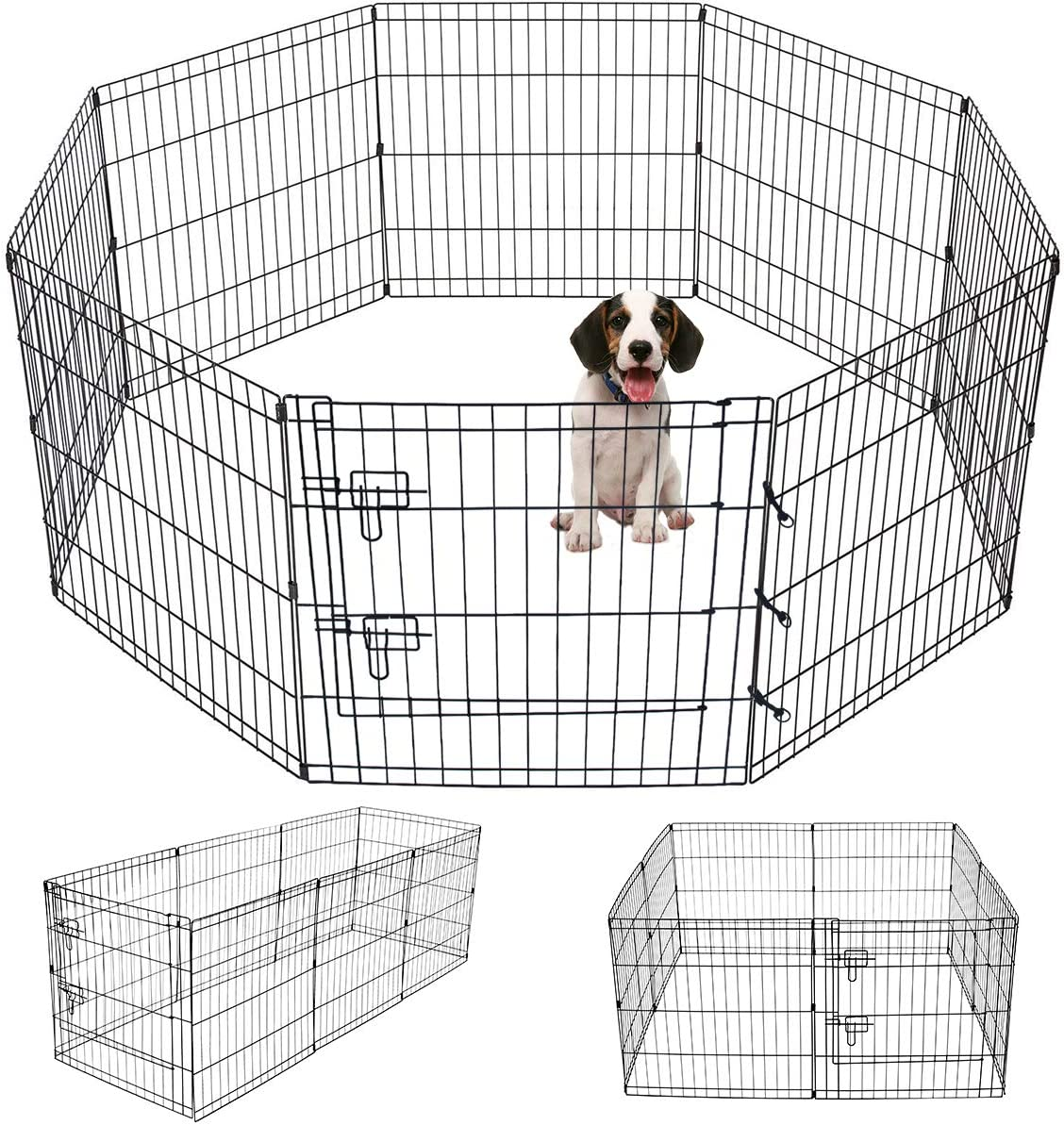 Pet Playpen Puppy Playpen Kennels Dog Fence Exercise Pen Gate Fence Foldable Dog Crate 8 Panels 24 Inch Kennels Pen Playpen Options Ideal for Pet Animals Outdoor Indoor