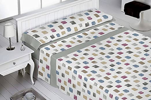 Juego sábanas franela algodón 100%. NUEVO diseño AQUA . Cama 105 cm. Gris. Contiene 3 PIEZAS.: Amazon.es: Hogar