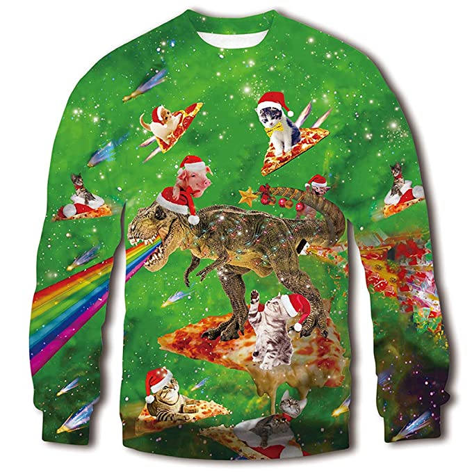 RAISEVERN Unisex Ugly 3D Christmas Sweaters with Cats Silly Funny Pullover Ugly Christmas Sweaters with Cats