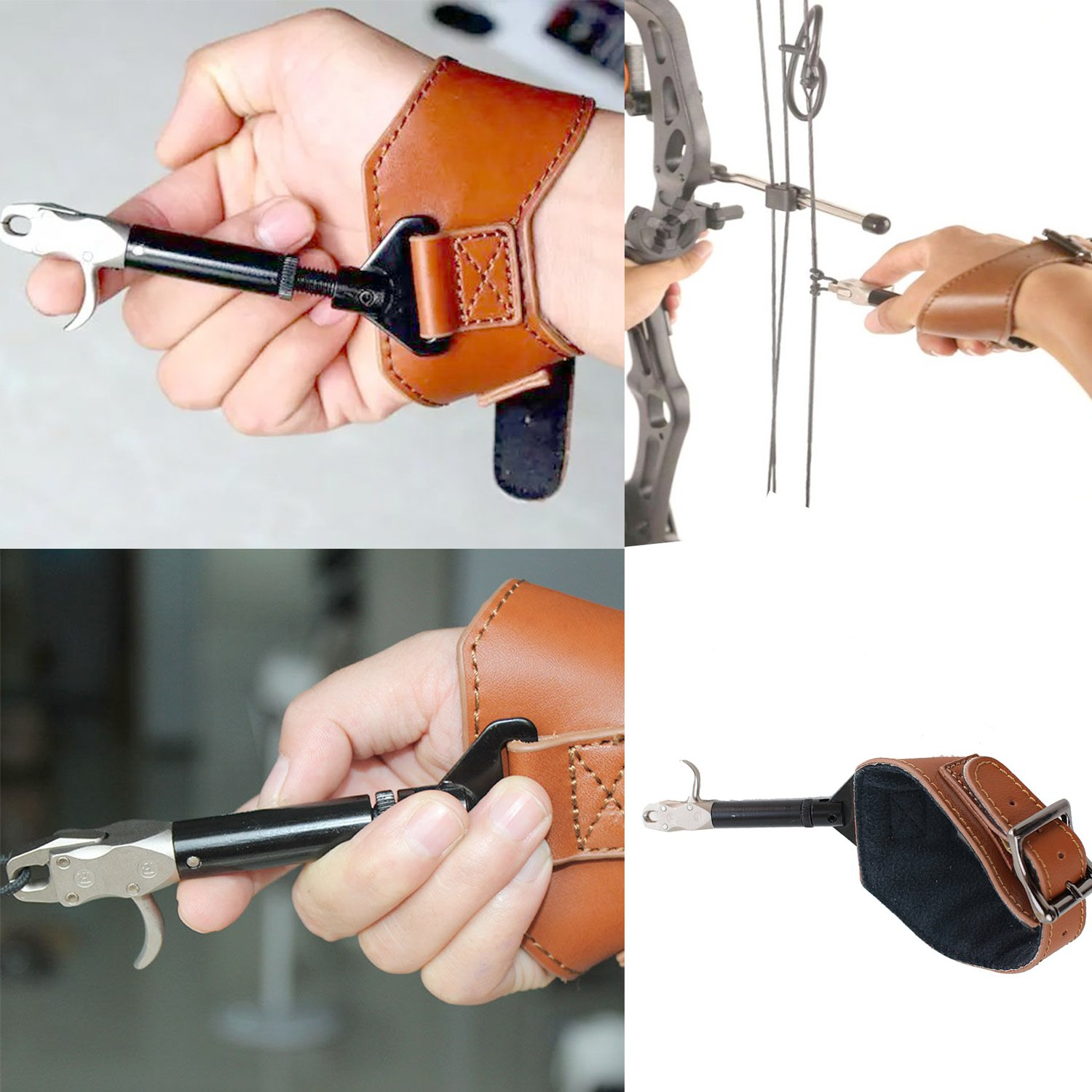 Funtress Buckle Foldback Adjustable Compound Bow Release Aid Trigger with Buckle Wrist Strap Caplier Shooting Trigger Accessories