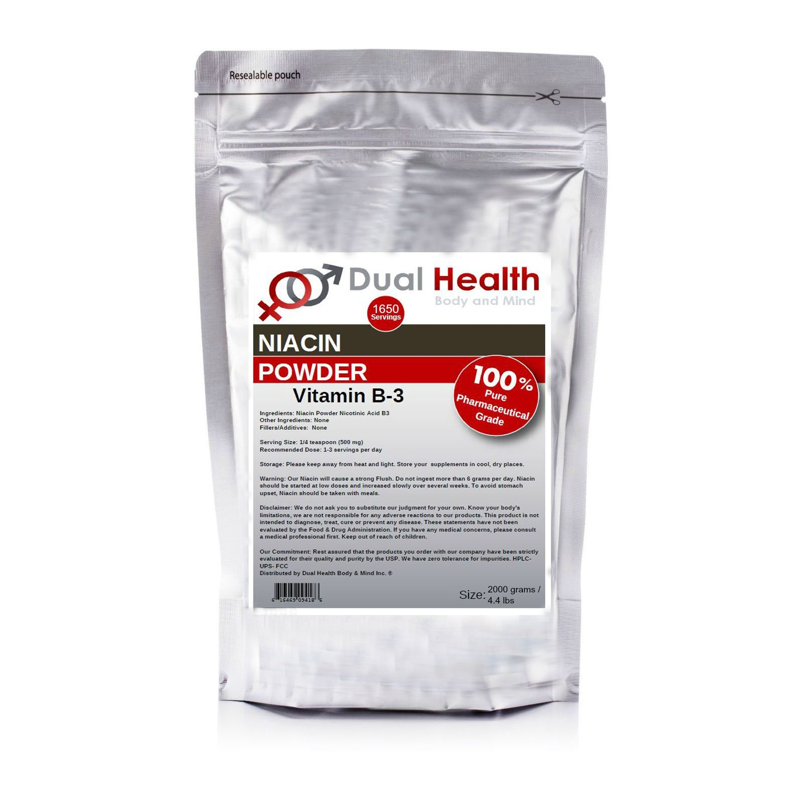 Pure Niacin (2000 grams (4.4 lbs)) Vitamin B3 Nicotinic Acid Powder Bulk Supplements