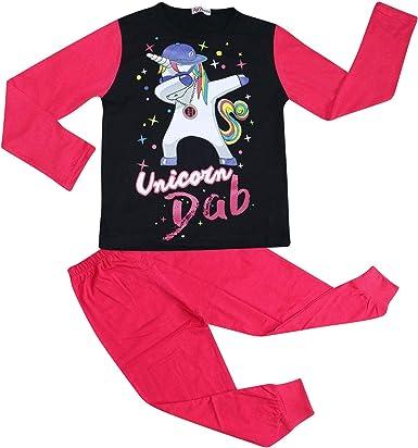 Kids Girls Designer Unicorn Dab Floss Pink Pyjamas Loungewear Nightwear PJS 5-13