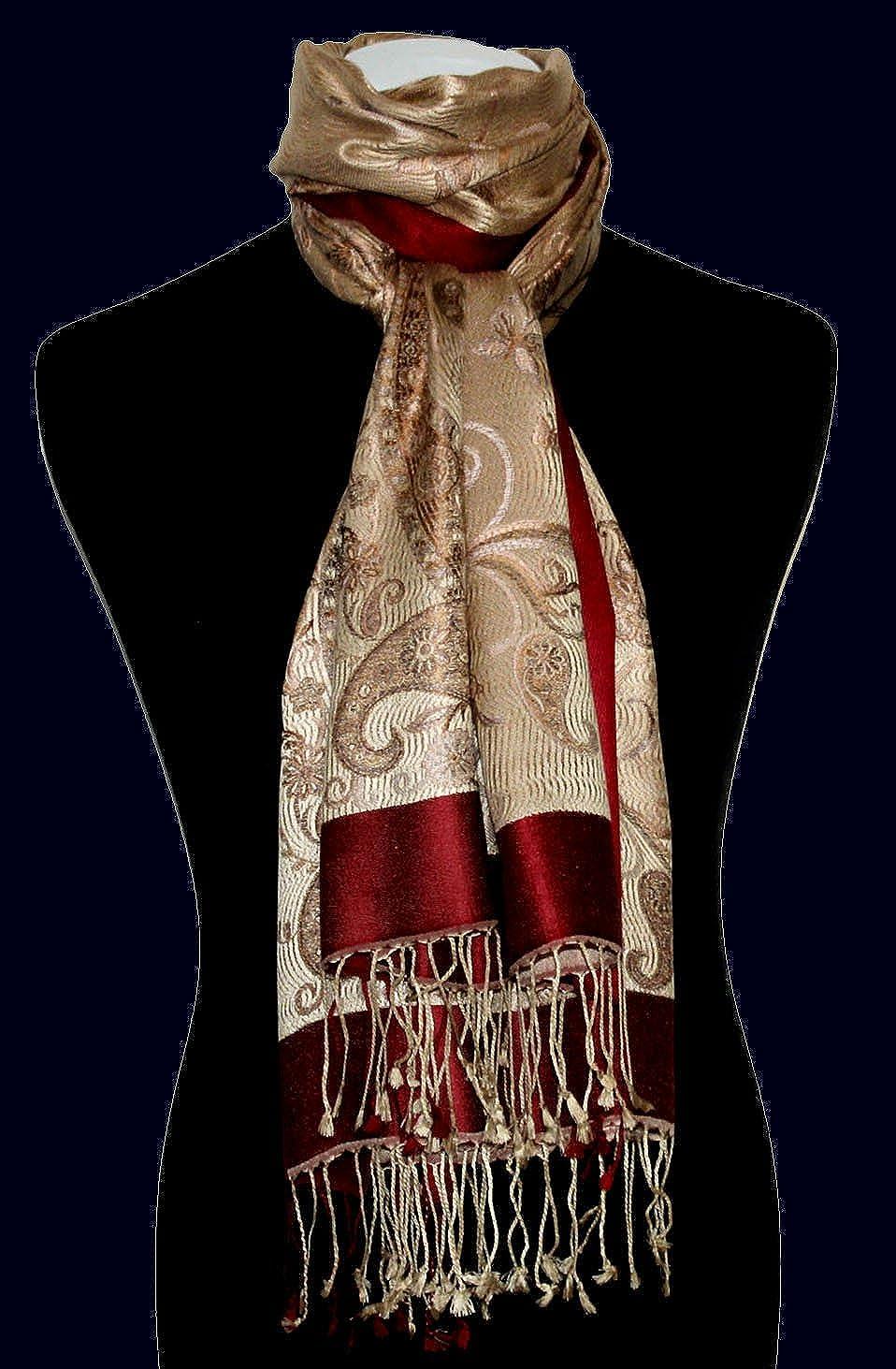 Lorenzo Cana Luxus Pashmina Damenschal Schaltuch jacquardgewebter Designerschal mit Fransen 100/% Seide 70 cm x 190 cm Paisleymuster Seidenschal Seidentuch Seidenpashmina harmonische Farben 78418